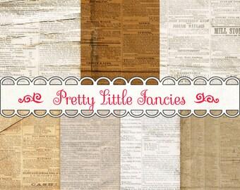 Digital Vintage Newspaper Digital Paper Backgrounds 12x12 Digital Scrapbook Newspaper Paper Pack