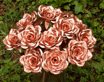 Copper Rose Bouquet a gift for 7th seventh 9th ninth anniversary anniversaries beautiful warm and cozy decor love your life family home wife