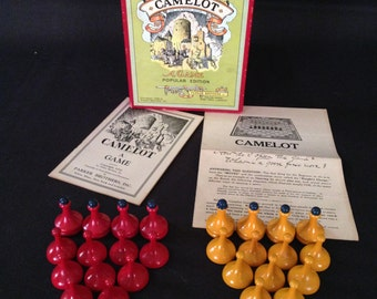 Vintage 1930s Camelot Game by Parker Brothers – Game Pieces and Instructions