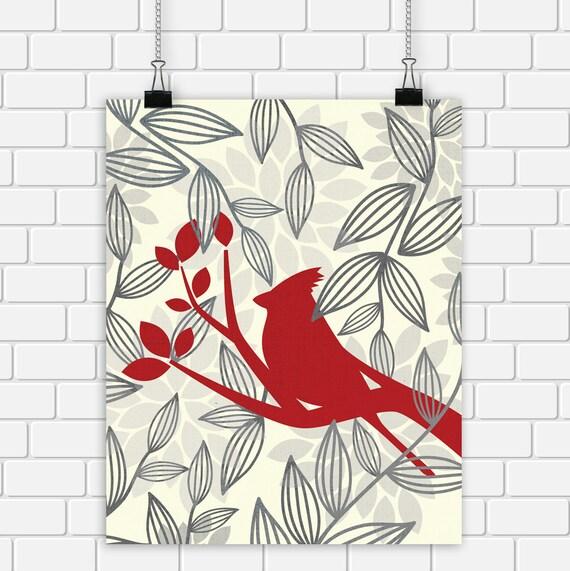 Red Bird Printable Art Cardinal Bird Home Decor Woodland Art