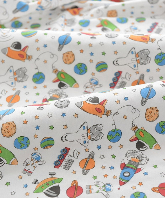 Cute baby knit fabric rocket ufo outer space knit fabric for Space baby fabric