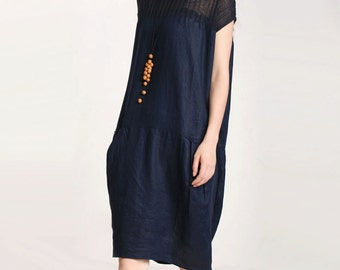 women linen loose dress/women mosaic loose dress