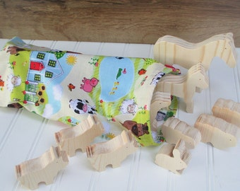Create your own set of 10 wooden animal toys for kids - Wooden toy animals - Pick any 10 - farm animals - zoo animals - Easter gift