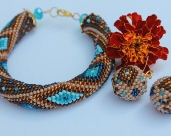 Bead Crochet Bracelet, Seed Bead bracelet, Beadwork bracelet, brown bracelet, geometric bracelet made with love, trending bracelet
