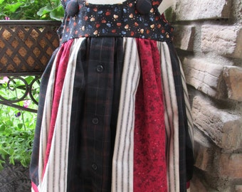 Girl/toddler 3T dress/jumper made from a reycled mens shirt. Handmade/burgandy dress/boho/upcycled/birthday party/Morgansolen/FREE SHIPPING