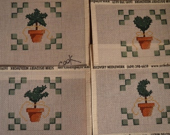 Topiary Coaster Set Hand Painted Needlepoint Canvases