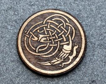 Celtic SINGLE CRANE brooch pin, laser engraved wood, NEW #119