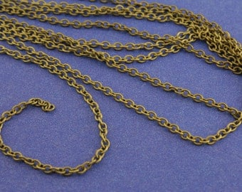 32 Ft. Antiqued Brass Round Cable Chain 2x3mm links, 10mm Antiqued Bronze Chain 3mm x 2mm open links-AB-B08983-8S
