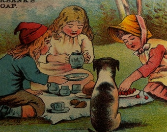 Antique Burbank Soap Trade Card, Picnic Children