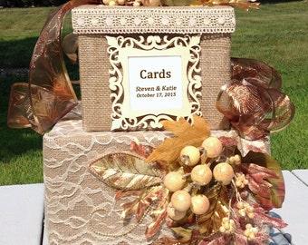 fall wedding card box,burlap wedding card box,rustic wedding invitation,wedding card holder,wedding reception centerpiece,rustic wedding