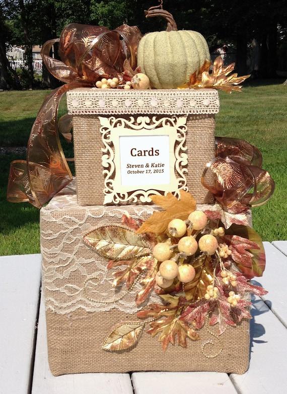 fall wedding card box,burlap wedding box,rustic wedding invitation ...