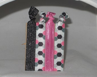 Set of 4 HONEYCOMB hair tie set