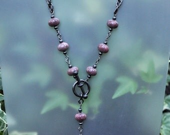 Rhodonite Stone and Gunmetal Necklace