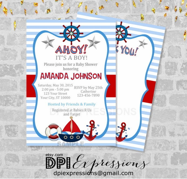 nautical boy baby shower invitation printable by dpiexpressions