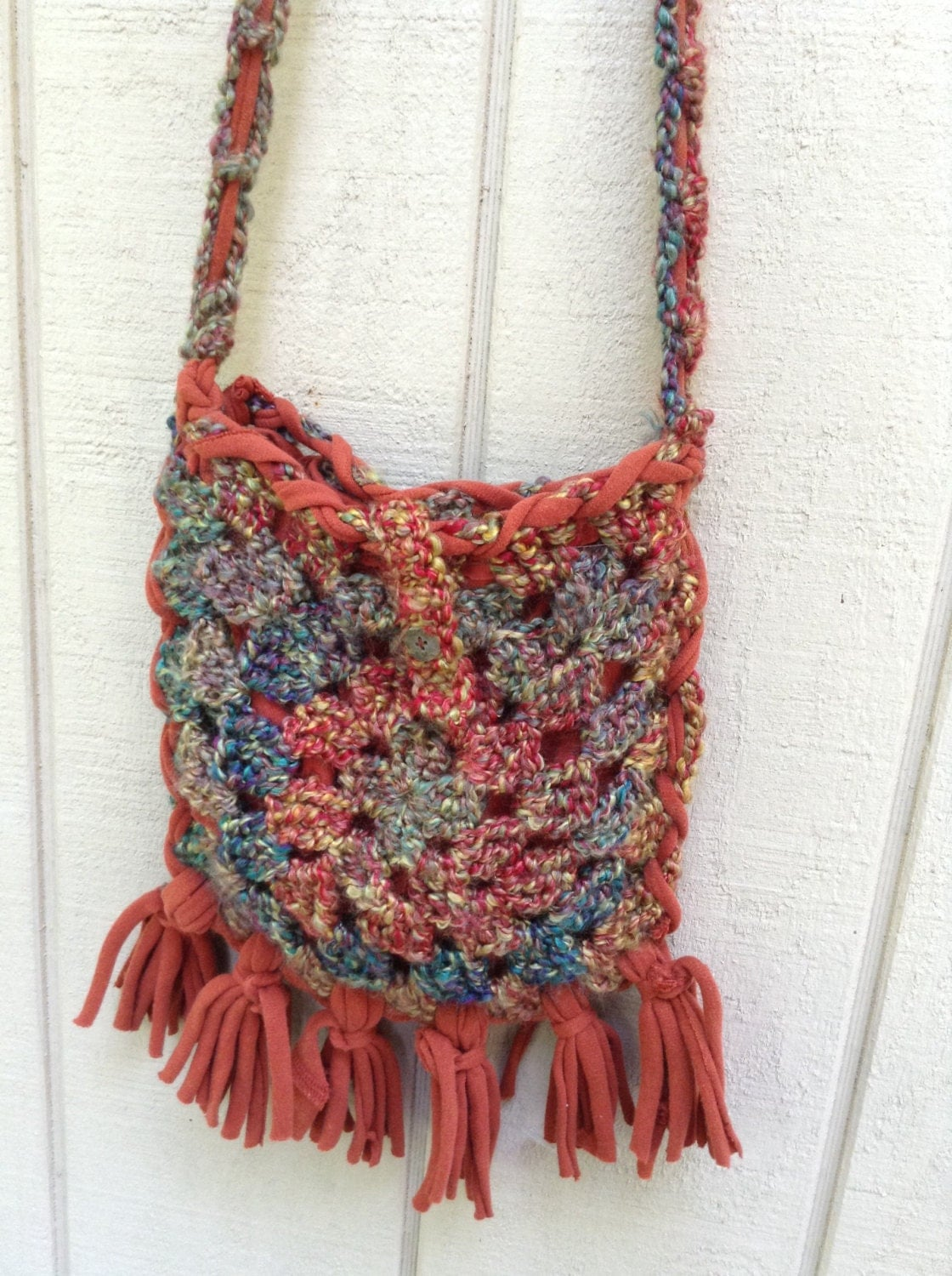Crochet Boho Bag : Boho crochet and upcycled crossbody bag / by PursenalIssues
