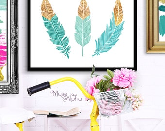 Tribal Feather Art, Feather Aquamarine Print, Mint Feathers Printable, Aquamarine Art, Feathers Trio Wall. Gold and Mint Summer Printable
