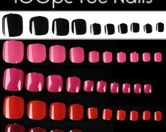 100pc Full Cover Toe Nails Colored False Nails Pedicure Acrylic UV Gel