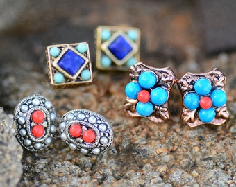 Small Earrings, Gypsy Earrings, Boho Earrings, Southwest Earrings, Tiny Earrings, Trio Earrings, Earrings Set, Gypsy, Southwest E636-SW