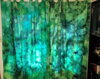 """Curtains - Leafmold Malachite (100% cotton, hand-dyed, variegated greens, 54"""" x 96"""")"""