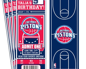 12 Detroit Pistons Custom Birthday Party Ticket Invitations - Officially Licensed by NBA