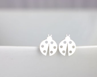 Silver LadyBug Studs, Sterling Silver Earrings, Insect Earrings, Ladybug Jewelry, ladybird studs