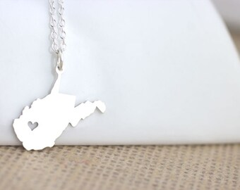 Sterling Silver West Virginia Necklace - I heart West Virginia, West Virginia Love, Charlestom WV, moving away gift