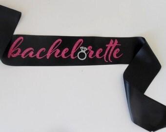 Bachelorette Sash - Black sash, Pink & Silver glitter