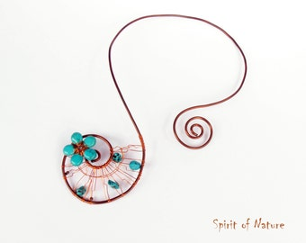 Copper wire necklace Copper torque  Fairy flower necklace Copper choker Turquoise jewelry Wire wrapped necklace Copper Wire choker OOAK