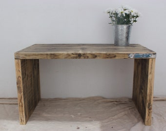 THOREAU | Reclaimed Wood Side Table / Table / End Table / Industrial Side Table / Living Room Table - Handmade & Bespoke Home Decor