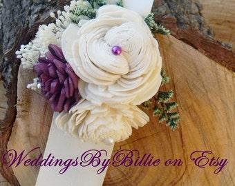 Purple Wedding Corsage, Mother Corsage, Prom Corsage, Sola Corsage, Mother's Corsage, Wedding Flowers, Plum Purple Corsage, Keepsake Corsage