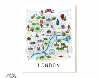 London City Map Art Print - Watercolor Illustration Poster
