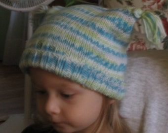 Toddlers  Handknit Tea Bag Hat with top tassels and ribbed, cuffed bottom   size 1-2 years  lime and turquoise