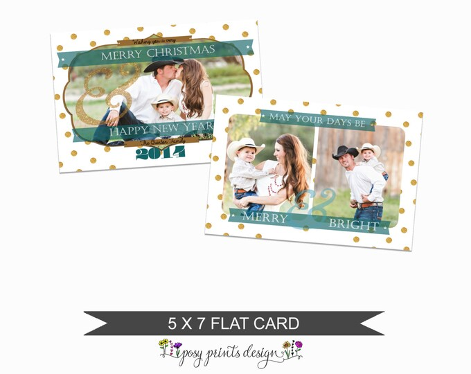 Teal Christmas Card Template - 5x7 Photo Card - Photoshop Template - INSTANT DOWNLOAD or Printable - CC18H