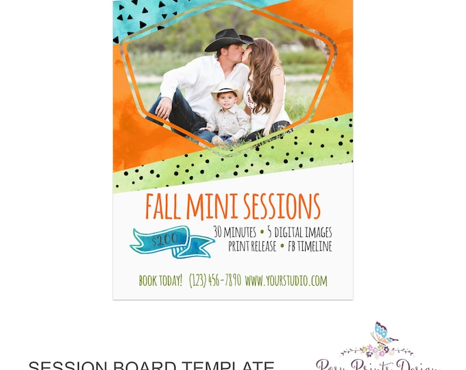 Fall Session Marketing Board - Template for Photographers - Autumn Photoshop Template - 5x7 Photography Design - AMB02