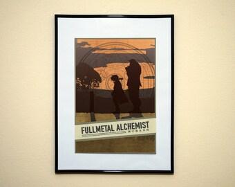 FullMetal Alchemist Minimalist Poster. FMA Brotherhood Manga Anime Art.