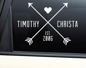 Personalized Couples Names Arrow Cross Woodland Vinyl Decal Laptop Car Truck Bumper Window Sticker