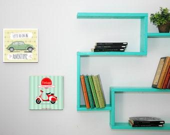 mur d'étagères, étagères, étagères pour enfant, étagère murale, rayonnage, étagère de rangement, étagère murale pour enfant, décoration, étagères