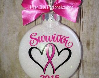 Breast Cancer Ornament, Christmas Ornament, Pink Ribbon, Cancer Survivor, Cancer Awareness, Awareness Ribbon, Personalized, Survivor, Pink