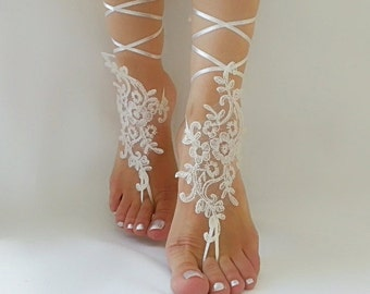 bridal anklet , ivory Beach wedding barefoot sandals, bangle, wedding anklet, free ship, anklet, bridal, wedding gift  bridesmaid