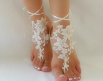 Free Ship ivory bridal bangle, sandals, beach wedding barefoot sandals, wedding bangles, anklets, bridal, wedding