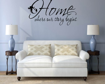 "Home Quote Wall Decal, Home Quote Vinyl Decal - ""Home Is Where Our Story Begins"" Home Wall Decal Vinyl Lettering"