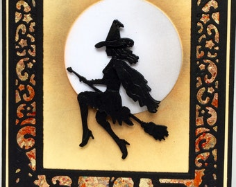 Witch on a Broom, Happy Halloween, Handmade Halloween, Hand Made Halloween Card, Halloween Birthday, All Hallows Eve, Flying Witch Card