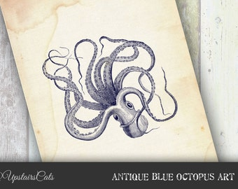 Antique Blue Octopus Print - Vintage Ocean Sealife, Aquatic Illustration Wall Decor, Nautical Art - Instant Digital Download