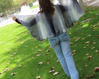Asymmetrical shawl, wrap ombre grey with silver glitter