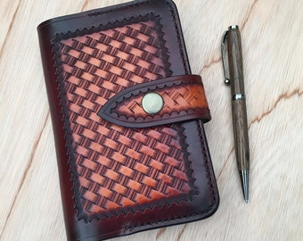 Moleskine Leather Notebook Cover, hand tooled, basketweave, mahogany/tan