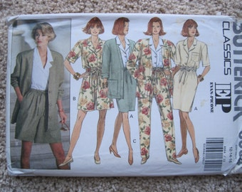 UNCUT Misses Jacket, Blouse, Skirt, Shorts and Pants - Size 12 to 16 - Butterick Sewing Pattern 6064 - Vintage 1992