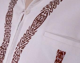FABULOUS Tiki Hawaiian shirt white brown Hawaii Luau Zipper Vintage by Iolani Small Medium Large
