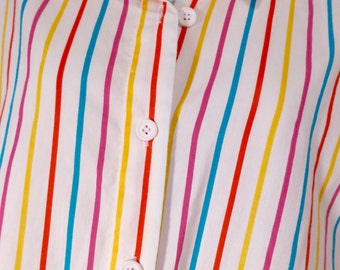 Rainbow Stripe Sleeveless Tank Top Shirt White Blue Red Yellow Willow Bay Large XL