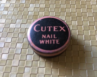 Vintage Cutex Nail White Tin in Pink and Black