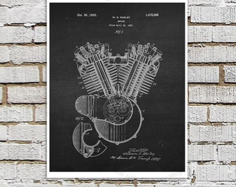 Harley Davidson Motorcycle Engine Patent Art Print #A4 with Chalkboard Background Image. Gift for Biker, Motorbike Decor, Harley Wall Decor
